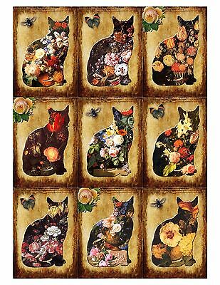 Flowered Cats Card Toppers / Scrapbooking / Card Making