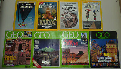 Lot anciens magazines GEO / National Geographic 1978 1979 1984 1992 1993 2007