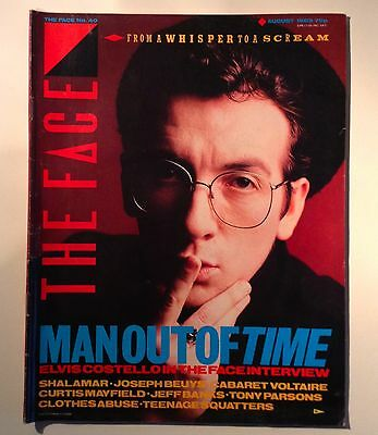 The Face Magazine-August 1983-Issue 40- Elvis Costello Cover-Good Condition