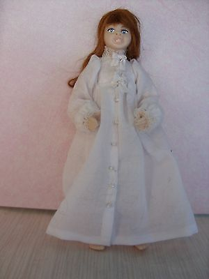 Porcelain Dolls House Doll   Girl dressed in a OOAK White nightgown