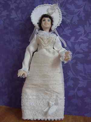 Porcelain Dolls House Doll  Lady in OOAK Regency White Gown and Bonnet