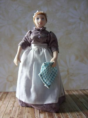 Porcelain Dolls House Doll  Kitchen Maid  in OOAK  dress, with dish towel
