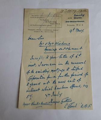 Original 1918 Air Ministry Letter Signed Rfc Royal Flying Corps Pilot 2 & 4 Sqn