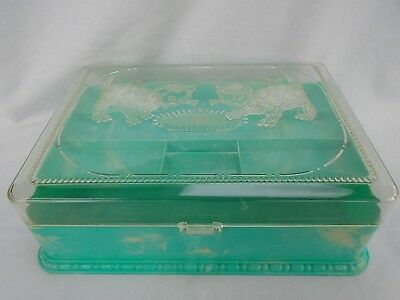 vintage antique Hommer green kitty cat sewing needle spool thread pincushion box