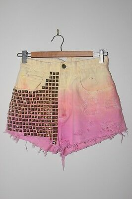 Tres She Custom Made Women's Vintage Tie Dyed Ombre Shorts Pink Yellow Studded