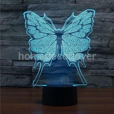 Novelty 3D LED Butterfly Illusion Bedroom Night 7 Colors Desk Light Lamp