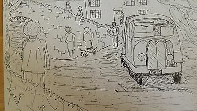 Crossing the Ford. Pen drawing on card of vintage print.