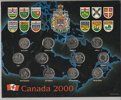 Canada 2000  Quarters, ~ Set Of 12 Coins ~ In Map Cardboard Holder 25 Cents F2