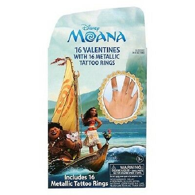 Disney Moana Valentine's Day School Cards with Metallic Tattoo Rings 16 Pack