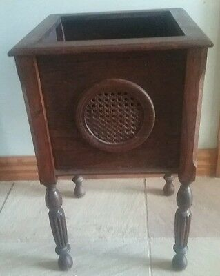 ANTIQUE JACOBEAN ENGLISH OAK PLANT STAND with RATTAN SIDES   ~  1930's era