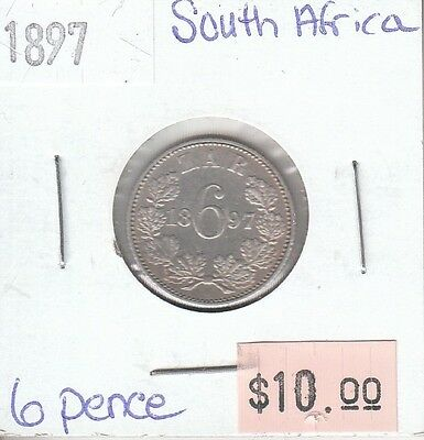 South Africa 6 Pence 1897 Silver Circulated