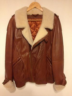 Vintage 1980s Men's Lakeland Soft Tan Brown Leather Sheepskin Jacket