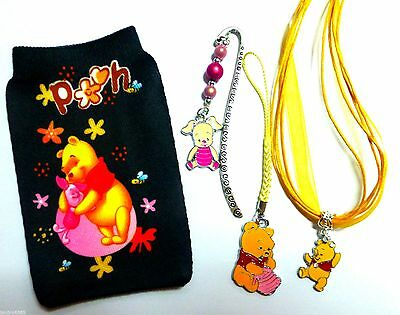 Winnie the Pooh MP3 phone Sock, Charm, Necklace & Bookmark Gift Set