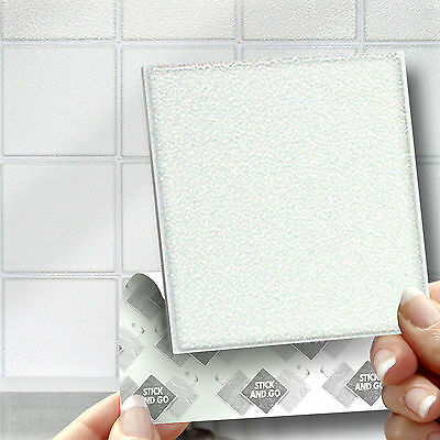 18 Stick & Go White Stick On Wall Tiles or Stickers for Kitchens & Bathrooms