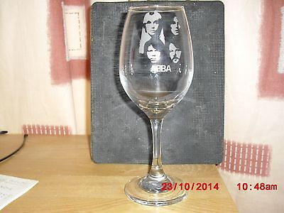 ABBA etched wine glass