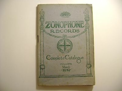 Vintage Gramophone Complete Catalogue Zonophone Records 1919