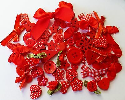 80 RED themed Mega Mix of Buttons-Ribbons-Bows-embellishments-cardmaking-crafts