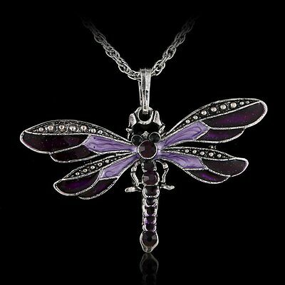 Trendy Dragonfly Long Pendant Necklace Chain Crystal Rhinestone Silver Jewellery