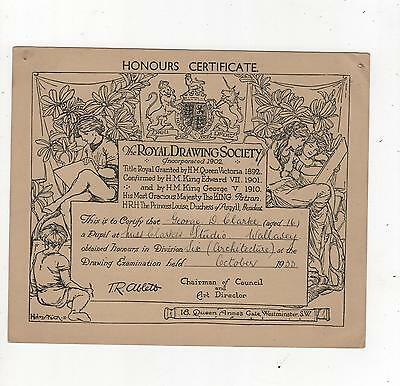 Royal Drawing Society Certificate 1933 Honours In Division 6. George Clarke