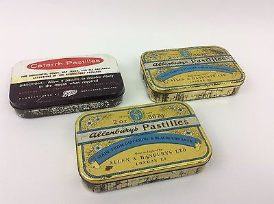 3 X vintage pastilles tins - Boots - Allensbury- Collectables- Advertising-