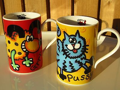Doggies & Moggies Mugs 'Bow Wow' & 'Meow' by Dunoon Scotland