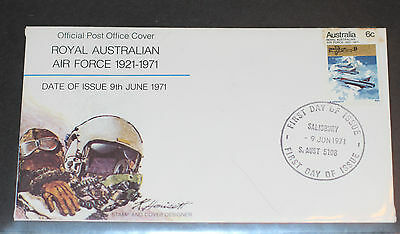 TWO FIRST DAY COVERS 1971 ROYAL  AUSTRALIAN AIR FORCE  SIGNED  6c STAMPS