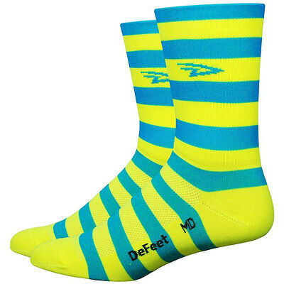 DeFeet Aireator 5 Inch D-Logo Stripers Socks Breathable Blue/Yellow