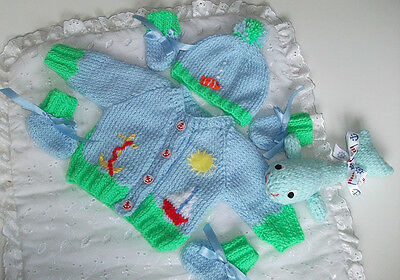 """Hand Knitted """"A Sailor Goes To Sea"""" Themed Cardigan Set & Willy Whale Soft Toy"""