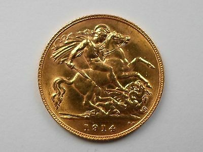 GEORGE V 1914 Gold Half-Sovereign LONDON Mint UK EF