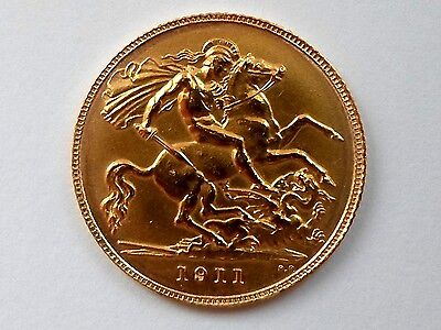 GEORGE V 1911 Gold Half-Sovereign LONDON Mint UK EF+