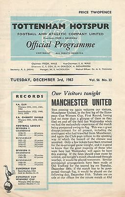 Tottenham Hotspur v Manchester United, 3 December 1963, Cup Winners Cup