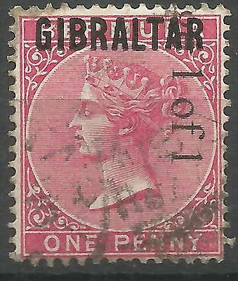 GIBRALTAR on BERMUDA, 1 of 1, QV, One Penny, SG2, Used