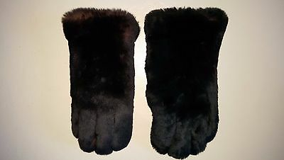 Stunning Vintage 1950/60's  Pair of Fur and Leather Black Gloves Gauntlets