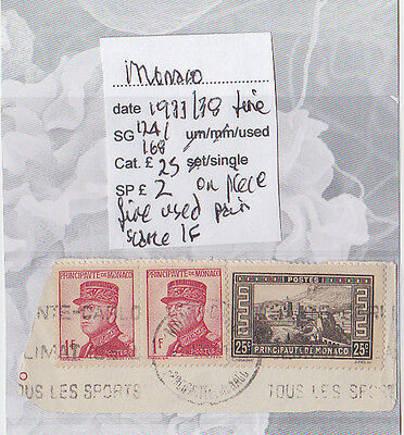 ref.115 MONACO 1933-38 STAMPS ON PIECE