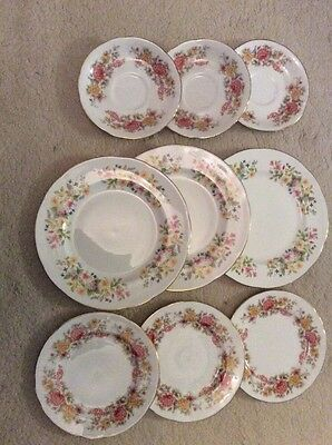 Vintage Colclough  China Floral Pink Plates Cup And Saucers Weddings Tea X Party