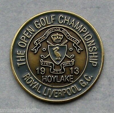 "1913  Open Golf Ball Marker Hand Painted 1"" Coin - Royal Liverpool Golf Club"