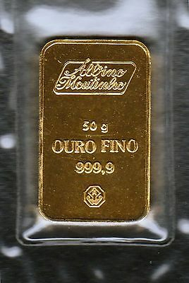 Certified 50g .9999 Gold Bar by Albino Moutinho (Portugal) in Original Package