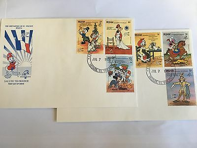ST VINCENT BEQUIA DISNEY FDC x 2 1989 SALUTE TO FRANCE MICKEY MINNIE GOOFY DUCK