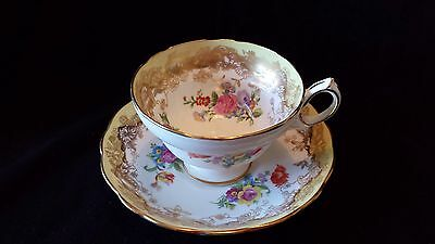 Hammersley Gold Trim and Rose Bouquet Footed Cup and Saucer