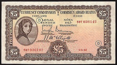 Currency Commission Ireland, £5 Five Pounds 1942. War code D. Nice About VF.