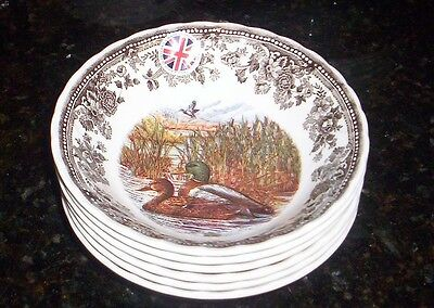 Queen's Quintessential Wild Game Ducks Oatmeal Cereal Bowls NEW set of 6