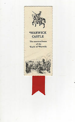 Bookmark Warwick Castle. Knight On Horseback And Castle Pictured.red Ribbon