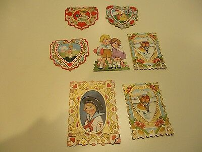 Whitney Made  LOT Made in USA 7 total valentine Cards standup Vintage fold