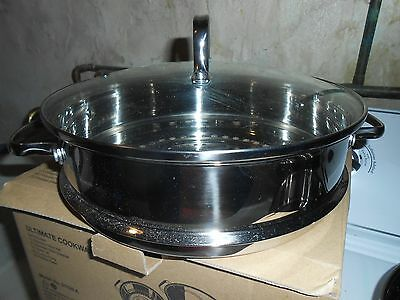 New Nuwave Stainless Steel Pot/srainer/glass Cover/fondue Set