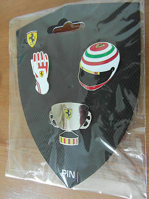 Ferrari Official  3 Metal Pin Badge Set New With Free Postage In Uk