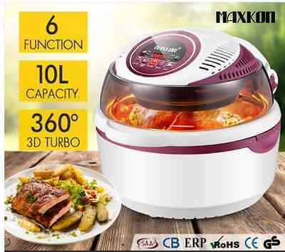 10L Digital Turbo Low Oil Air Fryer Convection Oven Cooker Peach
