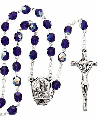 New Made In Italy Cobalt Blue Aurora Crystal Lourdes Water Miracle Rosary