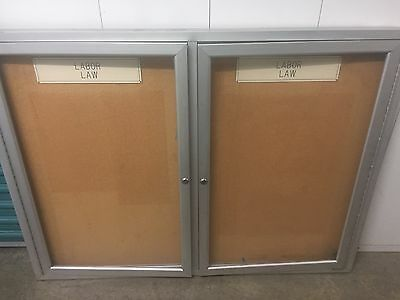 Quartet 4ft X 3ft Bulletin Board Outdoor 2 Door Used Ohio No Keys Priced To Sell