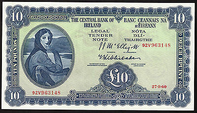 Eire. Central Bank of Ireland 10 Pound Note 1960 GEF to About UNC