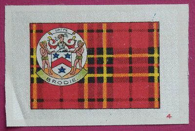 BRODIE Clan Tartan and Coat of Arms SILK card issued in 1922